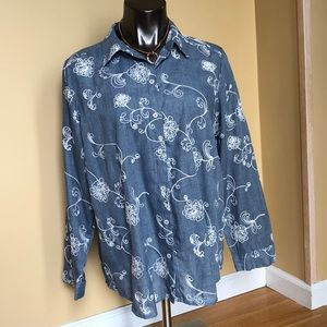 Chico's size 2 Large Blue Embroidered Blouse LS